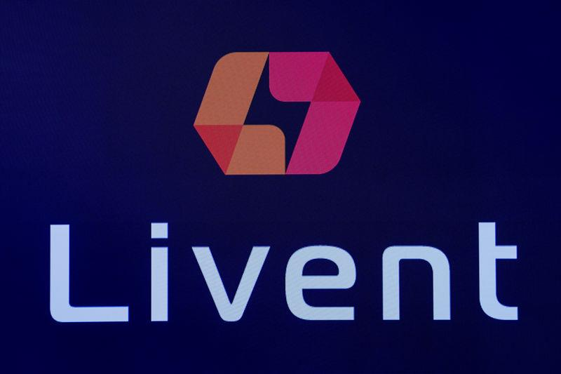 The company logo for lithium producer Livent Corp is displayed on a screen at the NYSE during the company's IPO in New York