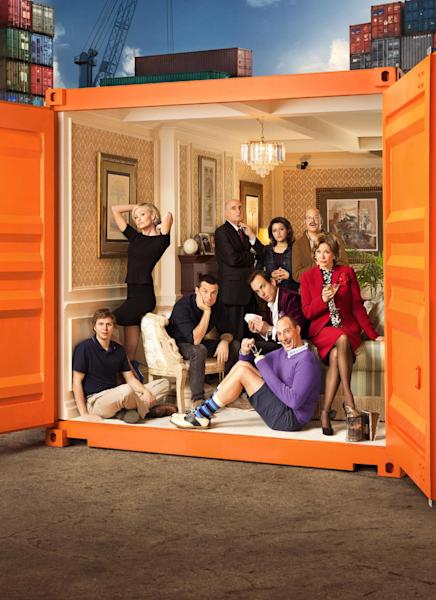 "This undated publicity photo provided by Netflix shows actress Jessica Walter, front right, and the cast of ""Arrested Development."" Even Walter, an Emmy-winning character actress, is surprised to find herself at a new professional peak, thanks to the Netflix revival of her sitcom ""Arrested Development"" as well as the continued success of the animated FX cult favorite, ""Archer."" The new season for ""Arrested Development"" began Sunday, May 26, 2013. (AP Photo/Netflix, F. Scott Schafer)"