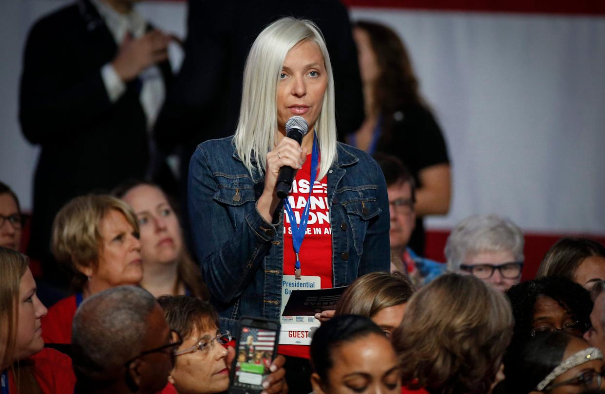 A member of the audience asks a question during the Presidential Gun Sense Forum on Saturday, Aug. 10, 2019, at the Iowa Events Center in Des Moines.