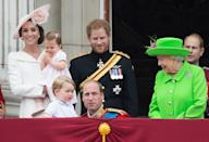<p>William got down to George's level at the 2016 Trooping the Colour during the parade, perhaps to explain what his son was watching. (Zak Hussein - Corbis/Corbis via Getty Images)</p>