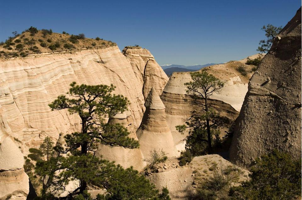 """<p>Take in the sumptuous patterns painted by Mother Nature herself on this <a href=""""https://www.tripadvisor.com/Attraction_Review-g46992-d646398-Reviews-Canyon_Trail-Cochiti_Pueblo_New_Mexico.html"""" rel=""""nofollow noopener"""" target=""""_blank"""" data-ylk=""""slk:three-mile trail"""" class=""""link rapid-noclick-resp"""">three-mile trail</a> that winds through the Kasha-Katuwe Tent Rocks National Monument. It's considered to be one of the best short hikes in New Mexico.</p><p><br><a class=""""link rapid-noclick-resp"""" href=""""https://go.redirectingat.com?id=74968X1596630&url=https%3A%2F%2Fwww.tripadvisor.com%2FAttraction_Review-g46992-d646398-Reviews-Canyon_Trail-Cochiti_Pueblo_New_Mexico.html&sref=https%3A%2F%2Fwww.countryliving.com%2Flife%2Ftravel%2Fg24487731%2Fbest-hikes-in-the-us%2F"""" rel=""""nofollow noopener"""" target=""""_blank"""" data-ylk=""""slk:PLAN YOUR HIKE"""">PLAN YOUR HIKE</a></p>"""