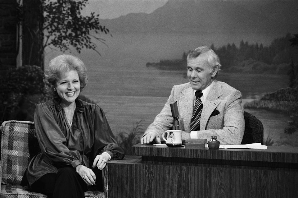 """<p>White also did a lot of guest appearances on <em>The Tonight Show Starring Johnny Carson</em>, where she had many memorable skits, including the time the two dressed as <a href=""""https://www.youtube.com/watch?v=Ih6LxwdwvlA"""" rel=""""nofollow noopener"""" target=""""_blank"""" data-ylk=""""slk:Adam and Eve."""" class=""""link rapid-noclick-resp"""">Adam and Eve.</a></p>"""