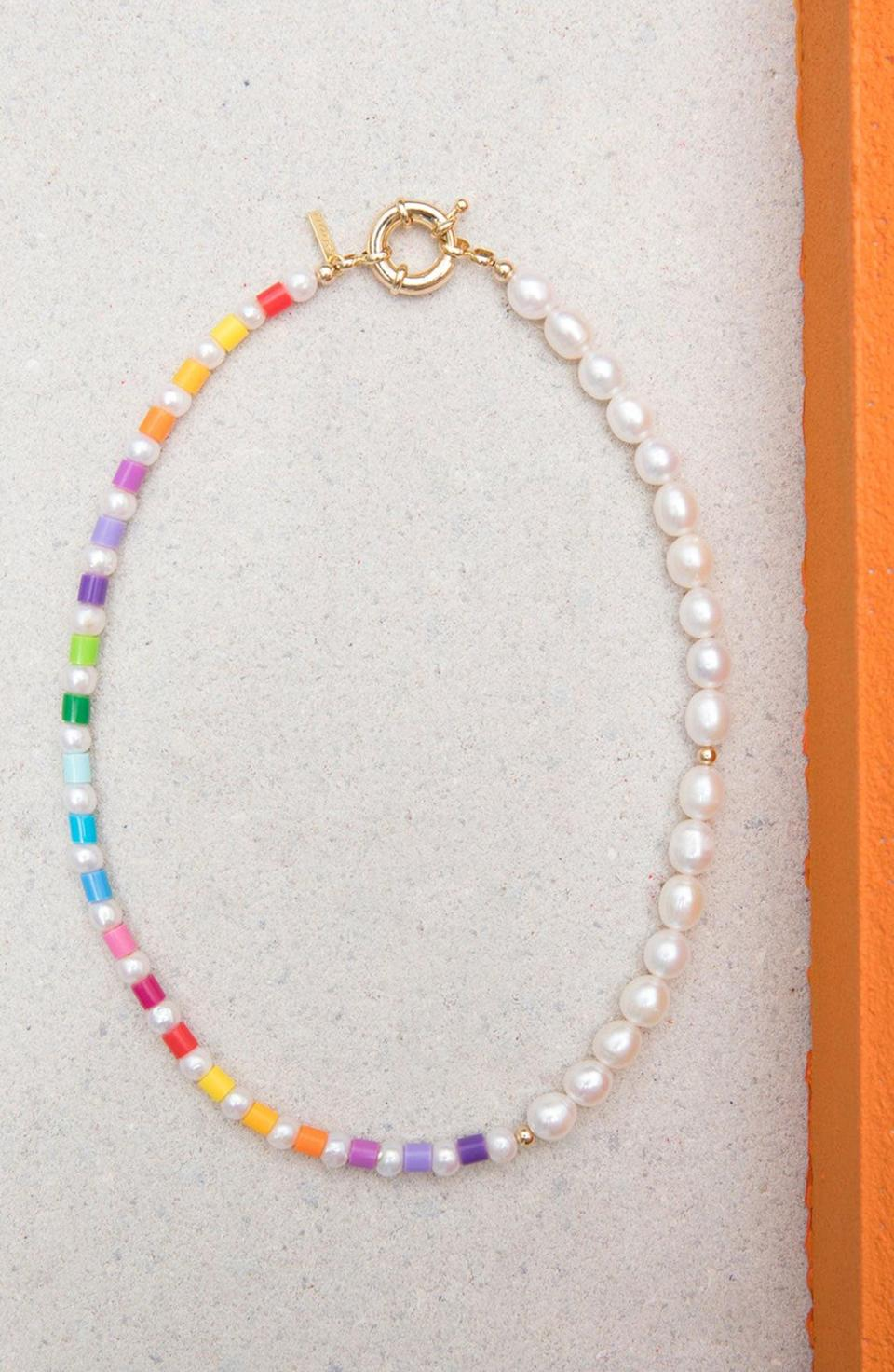 <p>Get them in on the colorful, enamel jewelry trend with the <span>Éliou Thasos Bead &amp; Baroque Pearl Necklace</span> ($160). The mix of rainbow beads and pearls is so fun.</p>