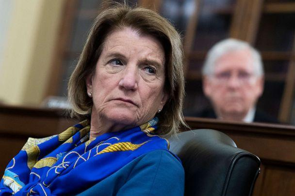 PHOTO: Sen. Shelley Moore Capito and Senate Minority Leader Mitch McConnell, attend the Senate Rules and Administration Committee markup of the For the People Act in Russell Building, May 11, 2021.  (Tom Williams/CQ-Roll Call via Getty Images)