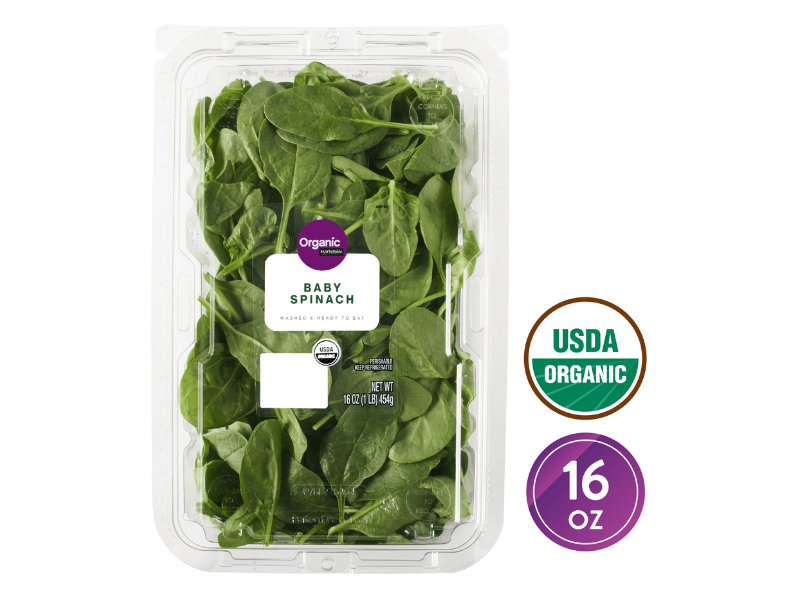 Marketside Organic Baby Spinach, 16-ounce. (Photo: Walmart)