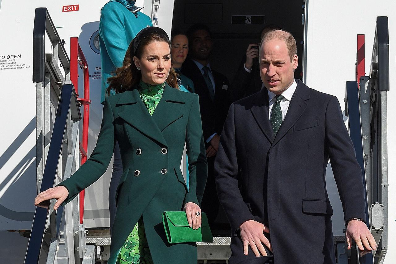 Britain's Prince William, Duke of Cambridge (R), and Catherine, Duchess of Cambridge (L), disembark as they arrive at Dublin International Airport in Dublin on March 3, 2020 at the start of a three-day visit. (Photo by Michael CHESTER / various sources / AFP) (Photo by MICHAEL CHESTER/AFP via Getty Images)