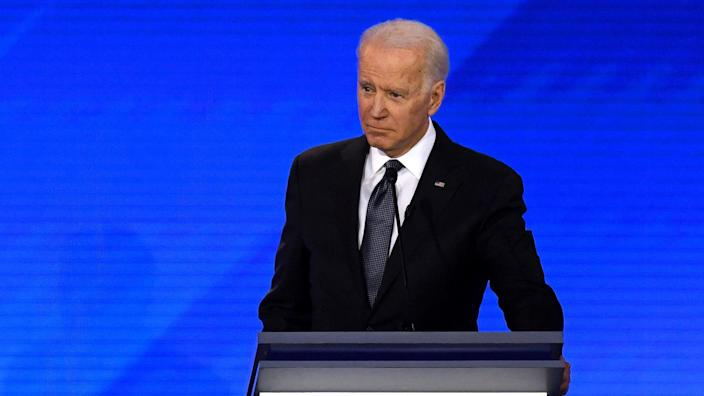 Joe Biden at the Democratic presidential debate in Manchester, N.H., on Friday night. (Timothy Clary/AFP via Getty Images)