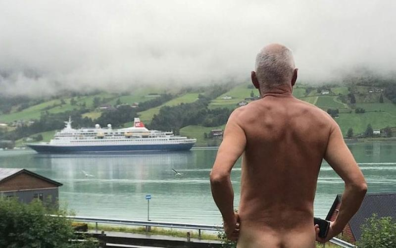 Svein Ingvald Opdal flashes a cruise ship in Olden, Norway - INSTAGRAM