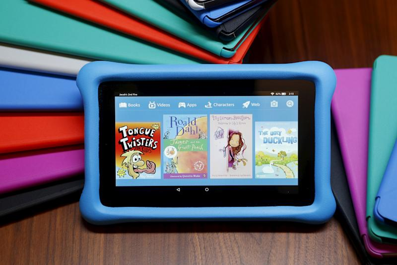 The new Amazon Fire kid's edition tablet is displayed during a media event introducing new Amazon products in San Francisco, California September 16, 2015. Photo taken September 16, 2015. REUTERS/Beck Diefenbach