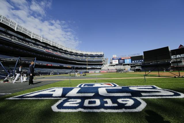 New York Yankees players take batting practice at Yankee Stadium Thursday, Oct. 10, 2019, New York. The Yankees will play the winner of tonight's Tampa Bay Rays at Houston Astros American League Division Series game in Game 1 of the American League Championship Series on Saturday, Oct. 12 in New York. (AP Photo/Frank Franklin II)