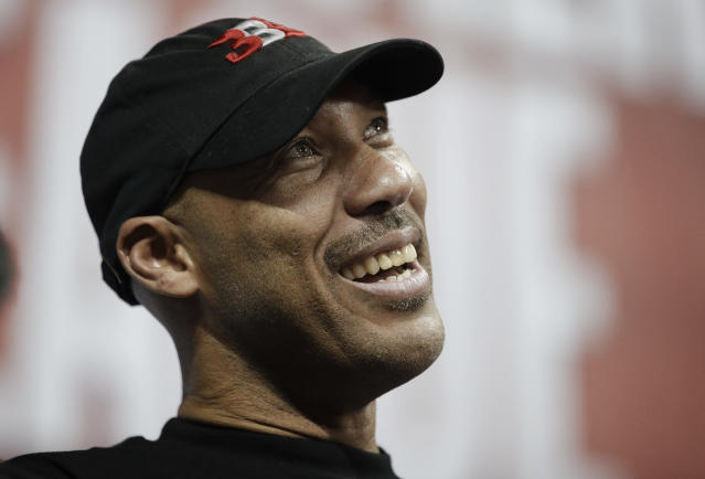 It's now a little harder to get a microphone in front of LaVar Ball's face. (AP)