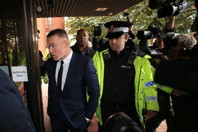Everton striker Wayne Rooney arrives at Stockport Magistrates' Court, where he is due to appear charged with drink driving.