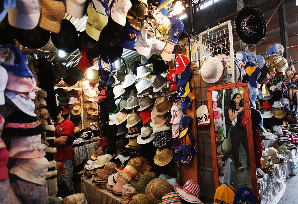 A market hall with hats in Buenos Aires, Argentina.