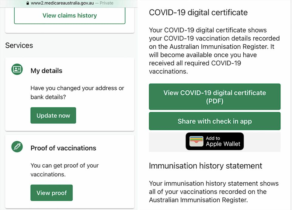 The MyGov Medicare section is pictured on an iPhone.