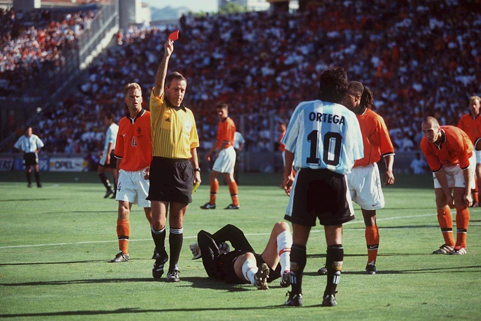 Ariel Ortega's red card was a key point late in the 1998 World Cup quarterfinal between Argentina and the Netherlands. (Photo by Mark Sandten/Bongarts/Getty Images)