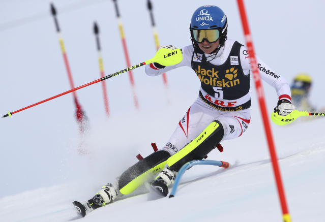 Austria's Bernadette Schild competes during a women's slalom at the alpine ski World Cup finals in Are, Sweden, Saturday, March 17, 2018. (AP Photo/Alessandro Trovati)