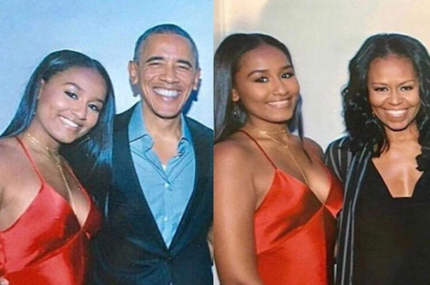<p>Sasha Obama celebrates Sweet 16 with her father, former president Barack Obama, and mother, Michelle, while wearing a sleek coral slipdress. (Photo: Instagram) </p>