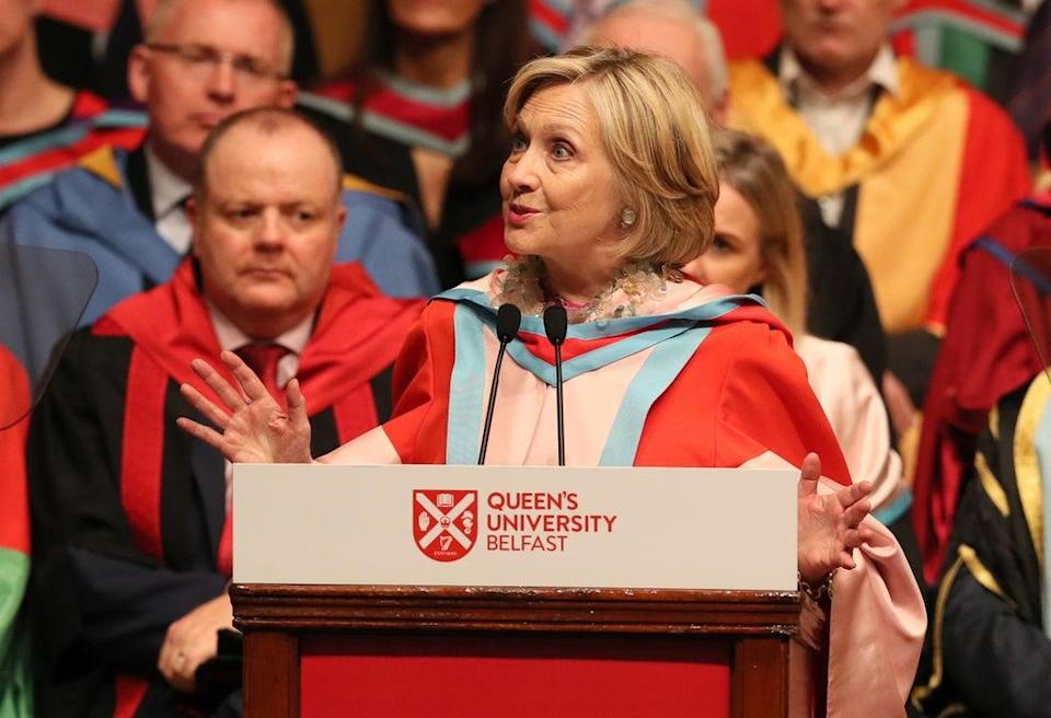 Hillary Clinton makes an address during a ceremony at Queen's University Belfast where she is being awarded an honorary degree (PA) (PA Archive)