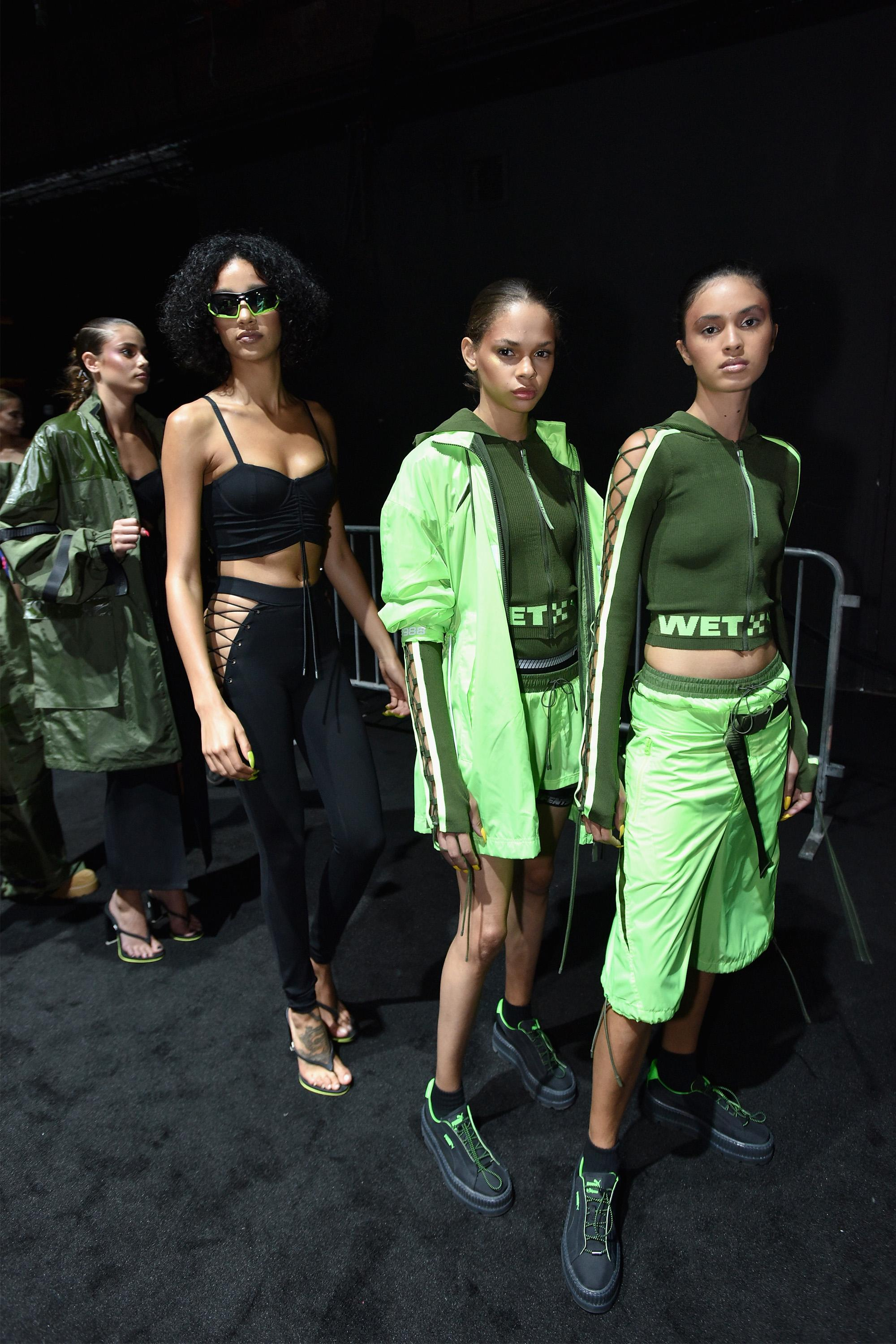 Models backstage at the Fenty Puma by Rihanna spring/summer 2018 collection on Sept. 10  in New York City.