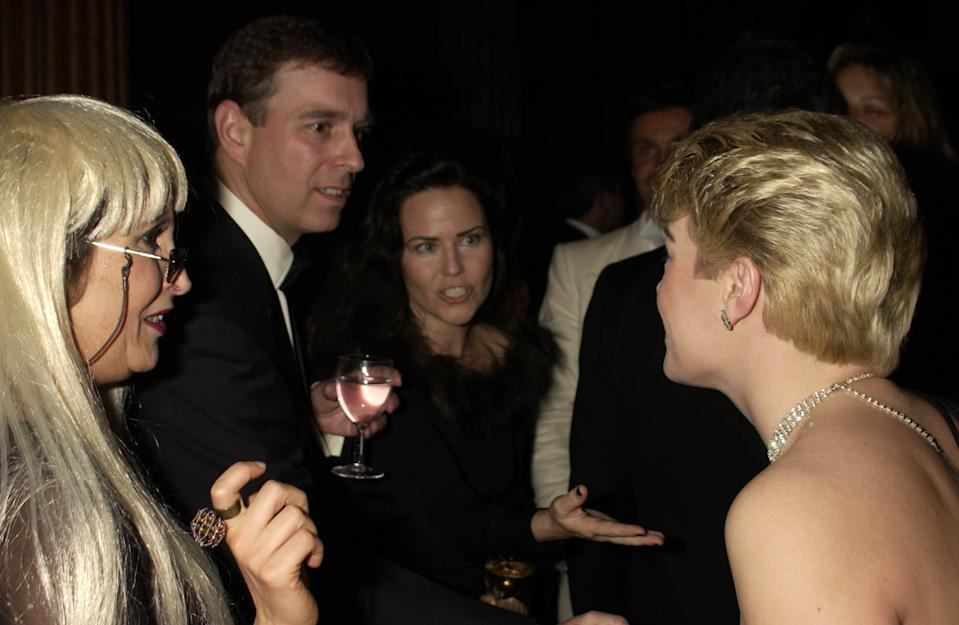 Prince Andrew and Koo Stark at a 'Mystery Vamp And Seduction' party in London.  (Photo by Dave Benett/Getty Images)