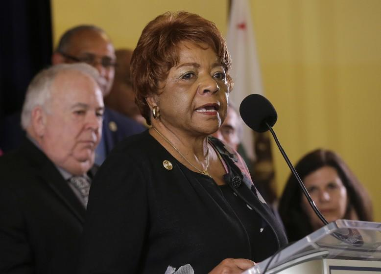 Alice Huffman, President of the California NAACP, speaks at a news conference in support of the Adult Use of Marijuana Act ballot measure in San Francisco, Wednesday, May 4, 2016. Backers of a marijuana legalization initiative said Wednesday they have collected enough signatures for the measure to qualify for the November ballot in California. (AP Photo/Jeff Chiu)