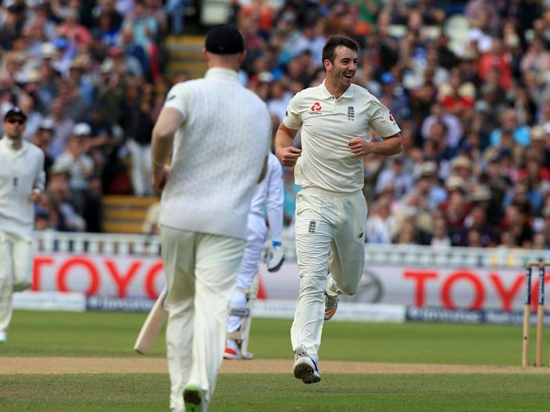 Toby Roland-Jones celebrates after bowling Shai Hope (Getty)