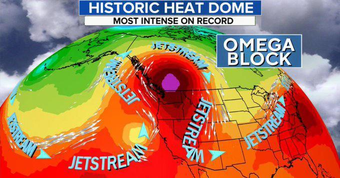 An Omega block and a wavy jet stream kept heat locked in place over the Pacific Northwest. / Credit: CBS News