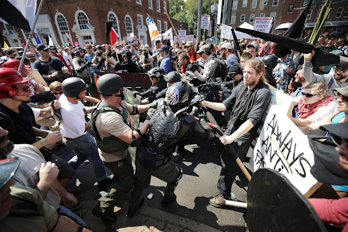 White nationalists, neo-Nazis and members of the alt-right clash with counter protesters in Charlottesville on Aug. 12. (Photo: Chip Somodevilla/Getty Images)