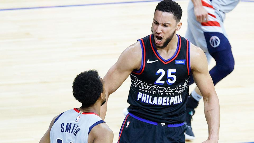 Seen here, Ben Simmons reacts with delight in the 76ers' Game 2 win over Washington.