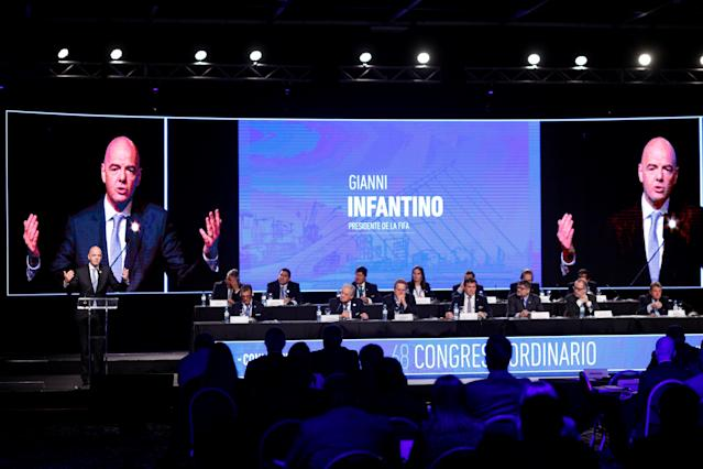 FIFA President Gianni Infantino delivers a speech at the 68th Ordinary CONMEBOL Congress in Buenos Aires, Argentina April 12, 2018. REUTERS/Martin Acosta