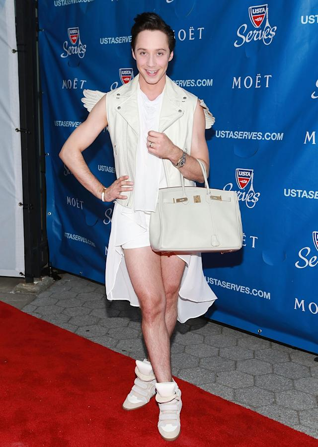 NEW YORK, NY - AUGUST 26: American figure skater Johnny Weir attends the 13th Annual USTA Serves Opening Night Gala at USTA Billie Jean King National Tennis Center on August 26, 2013 in New York City. (Photo by Robin Marchant/Getty Images)