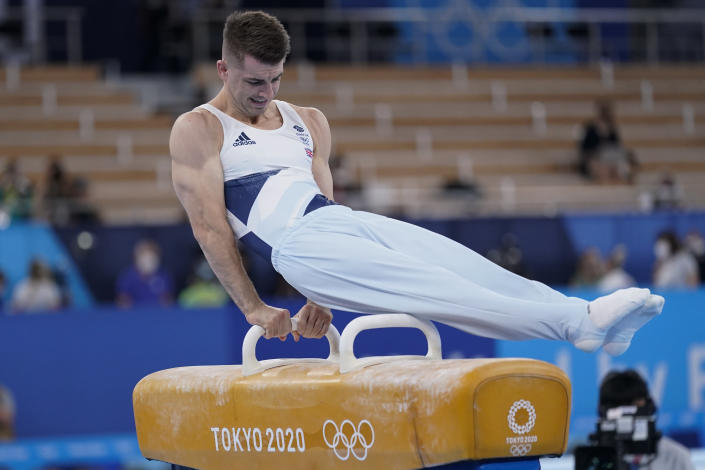 Max Whitlock of Britain, performs on the pommel horse during the artistic gymnastics men's apparatus final at the 2020 Summer Olympics, Sunday, Aug. 1, 2021, in Tokyo, Japan. (AP Photo/Ashley Landis)