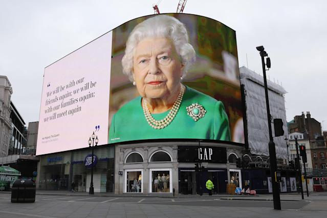 The Queen's last message was beamed around Piccadilly Circus. (Getty Images)