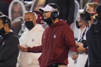 "FILE - In this Nov. 21, 2020, file photo, Oklahoma coach Lincoln Riley gestures during the second half of the team's NCAA college football game against Oklahoma State in Norman, Okla. Oklahoma is in its 12th Big 12 championship game, all four since the title game returned after a six-season hiatus. ""The game is going to be what it should be,"" Sooners coach Riley said. ""It's going to be two really good football teams that have had really good years going at it."" (AP Photo/Sue Ogrocki, File)"