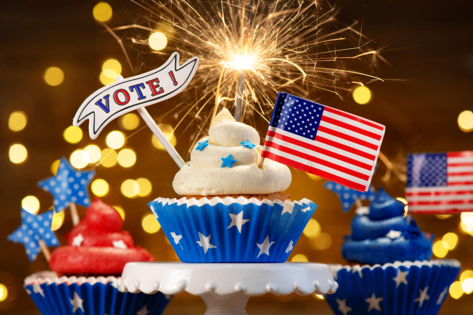 Patriotic American Cupcakes With Text Vote