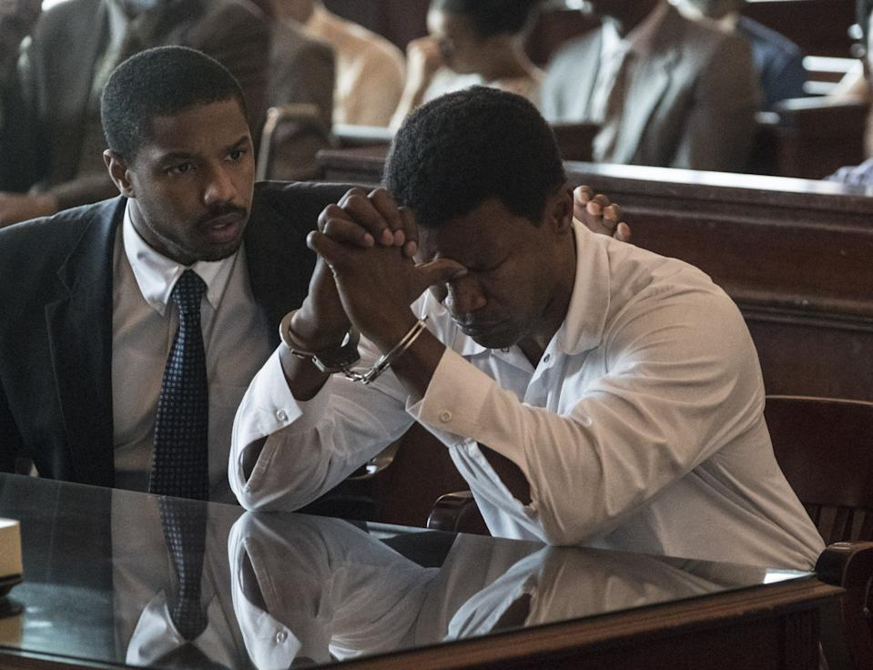 Michael B Jordan and Jamie Foxx in Just Mercy (Warner Bros.)