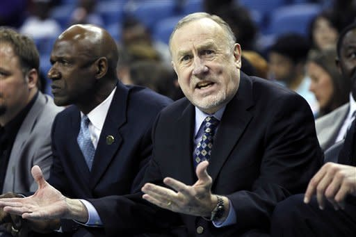 Minnesota Timberwolves head coach Rick Adelman reacts in the first half of an NBA basketball game against the New Orleans Hornets in New Orleans, Saturday, April 7, 2012. (AP Photo/Gerald Herbert)