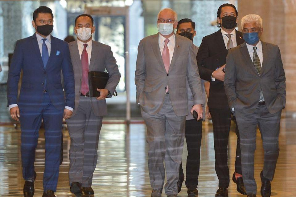 In the RM42 million SRC International case, Datuk Seri Najib Razak was sentenced to 10 years' jail on each of the three counts of CBT and each of the three counts of money laundering, and 12 years' jail and a RM210 million fine, in default five years' jail, in the case of abuse of position on July 28 last year. — Picture by Miera Zulyana