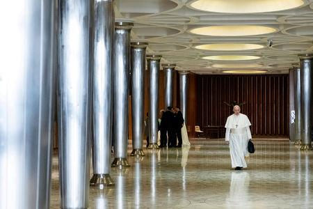 FILE PHOTO: Pope Francis is seen as the four-day meeting on the global sexual abuse crisis takes place at the Vatican February 21, 2019. Vatican Media/Handout via REUTERS