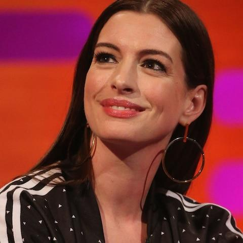Anne Hathaway during filming for the Graham Norton Show - Credit: Isabel Infantes/PA