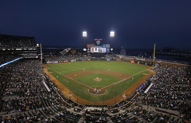 The San Francisco Giants play the Los Angeles Dodgers at AT&T Park during the first inning of a baseball game in San Francisco, Tuesday, Sept. 24, 2013. (AP Photo/Jeff Chiu)