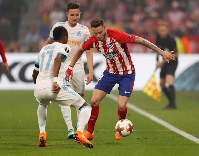 Soccer Football - Europa League Final - Olympique de Marseille vs Atletico Madrid - Groupama Stadium, Lyon, France - May 16, 2018 Atletico Madrid's Saul Niguez in action with Marseille's Bouna Sarr REUTERS/John Sibley