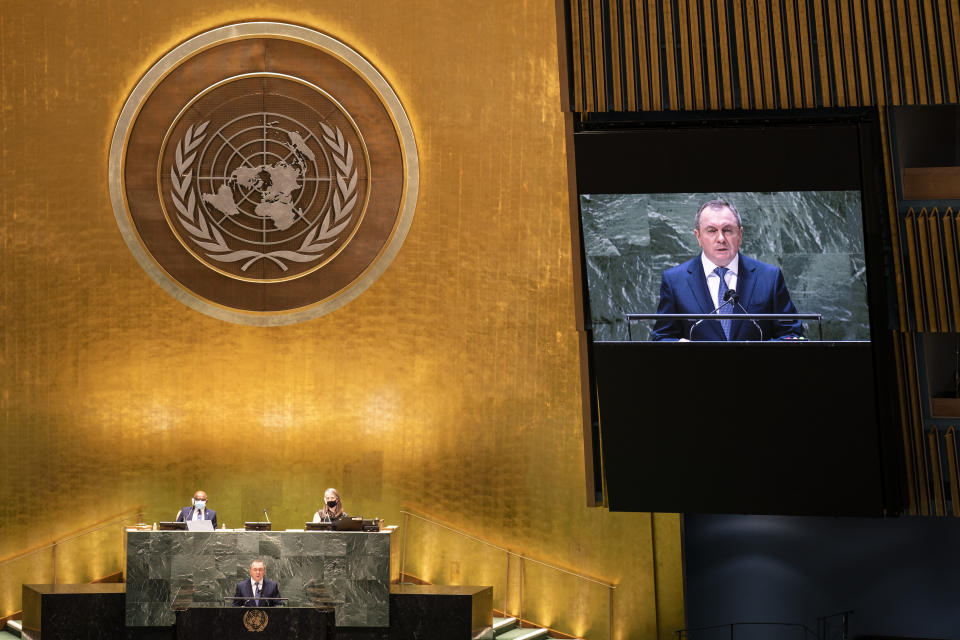 Belarus' foreign minister Vladimir Makei addresses the 76th Session of the United Nations General Assembly, Monday, Sept. 27, 2021, at U.N. headquarters. (AP Photo/John Minchillo, Pool)
