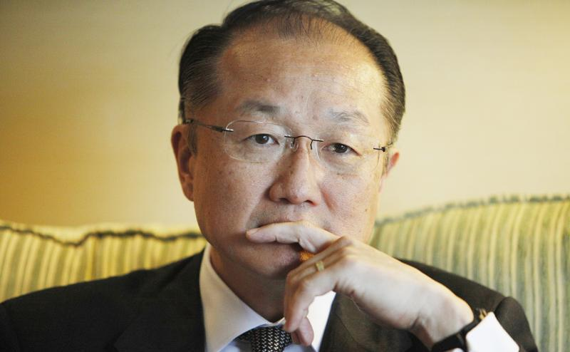 World Bank President Kim reacts during an interview with Reuters in Santiago