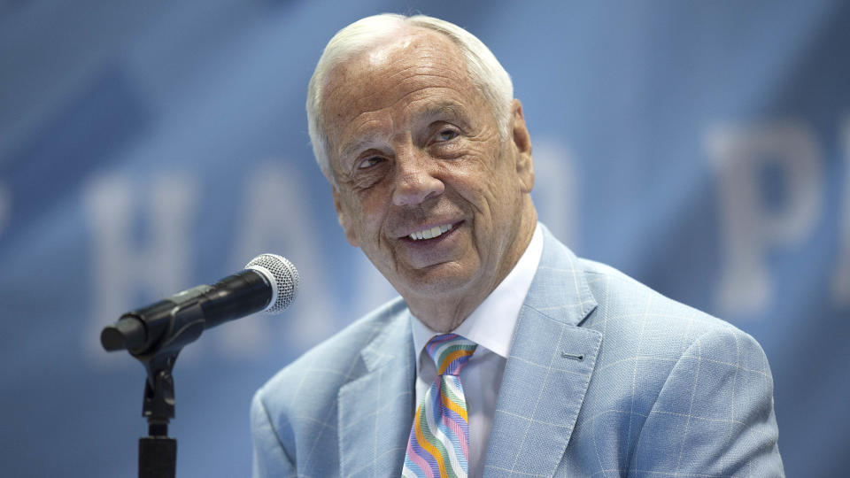 Roy Williams, head basketball coach at the University of North Carolina, speaks during his retirement announcement at Dean E. Smith Center on April 1. (Jeffrey Camarati/Getty Images)