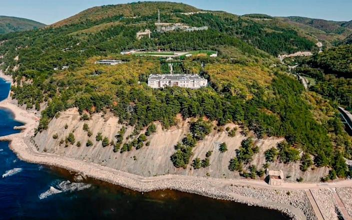 Alexei Navalny in his latest investigation claimed that President Vladimir Putin's friends helped him to a build a luxurious palace on the Black Sea coast - Navalny Life YouTube Channel via AP
