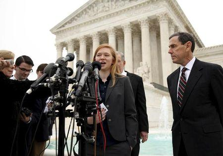FILE PHOTO: Abigail Fisher, the plaintiff in Fisher v. Texas, speaks outside the U.S. Supreme Court in Washington December 9, 2015. REUTERS/Kevin Lamarque