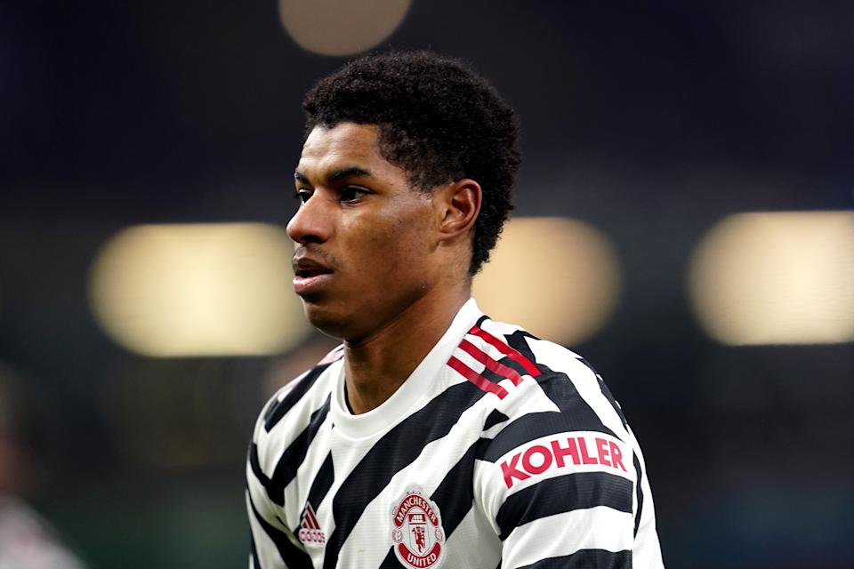 BURNLEY, ENGLAND - JANUARY 12: Marcus Rashford of Manchester United looks on during the Premier League match between Burnley and Manchester United at Turf Moor on January 12, 2021 in Burnley, England. Sporting stadiums around England remain under strict restrictions due to the Coronavirus Pandemic as Government social distancing laws prohibit fans inside venues resulting in games being played behind closed doors. (Photo by Jon Super - Pool/Getty Images)