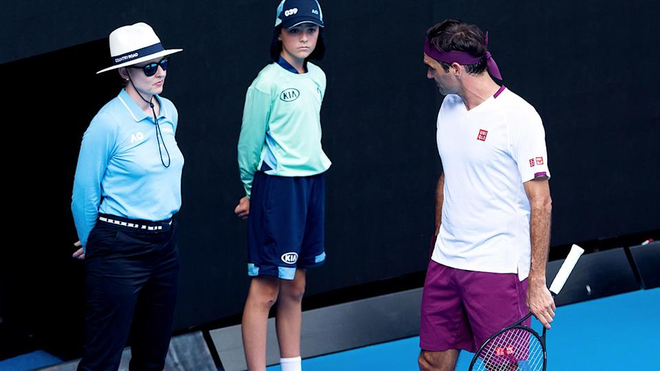 Roger Federer, pictured here clashing with a line judge at the Australian Open in 2020.