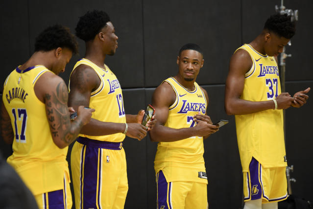 """Let's just check Twitter to see if LeBron has tried to trade us yet."" — the new young Lakers, possibly"